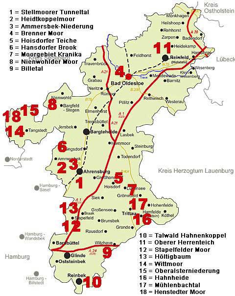 naturschutzgebiete schleswig holstein karte Naturschutzgebiete – Kreis Stormarn